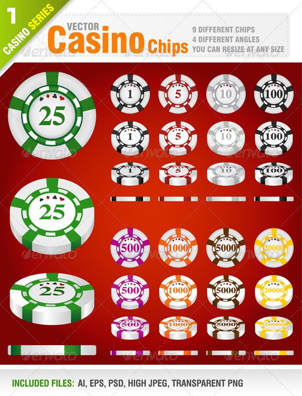36 Casino Chips - Sprites Game Assets