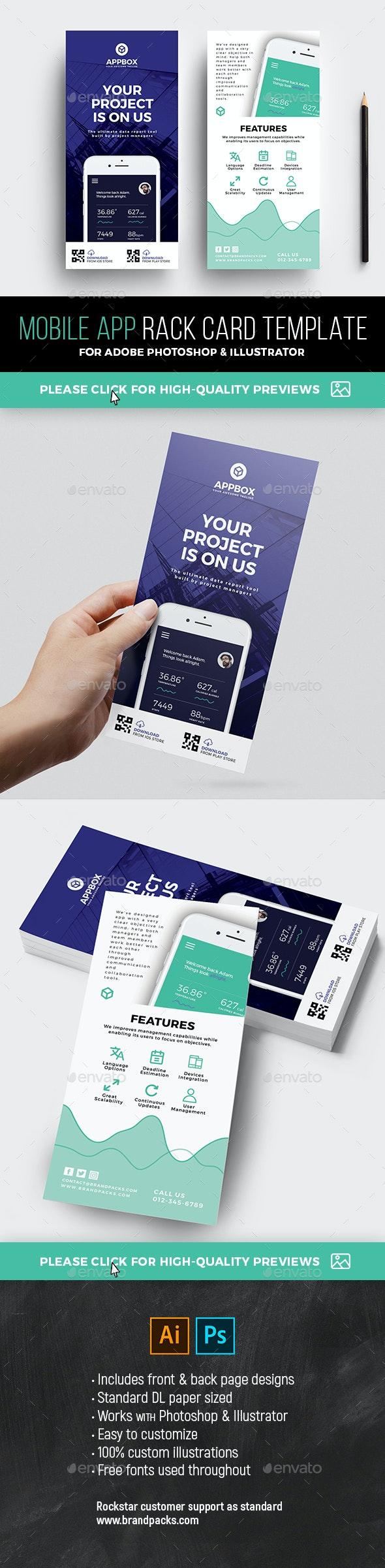 Mobile App DL Rack Card Template - Corporate Flyers
