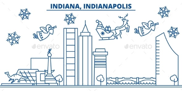 USA, Indiana , Indianapolis Winter City Skyline - Buildings Objects