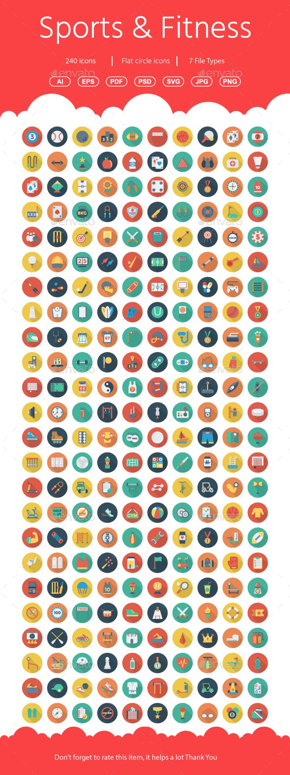 Sports and Fitness Flat Circle icons
