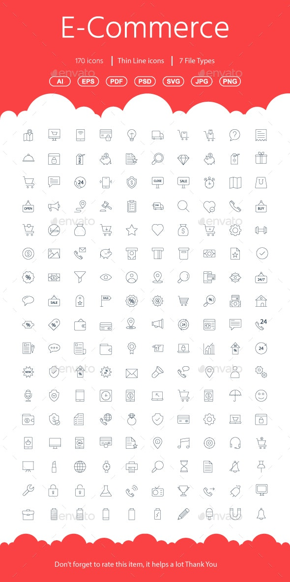 Shopping E-Commerce Line Icons