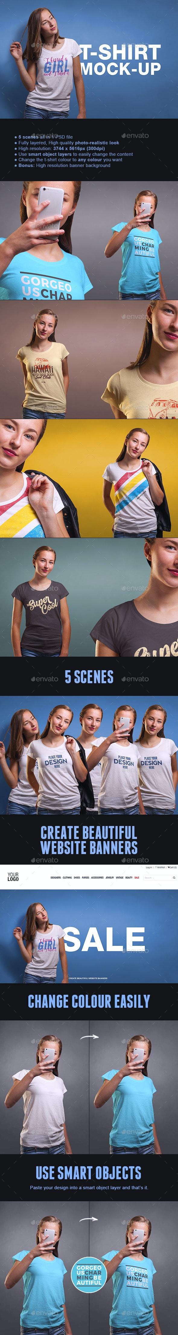 Female T-shirt Mock-up - T-shirts Apparel