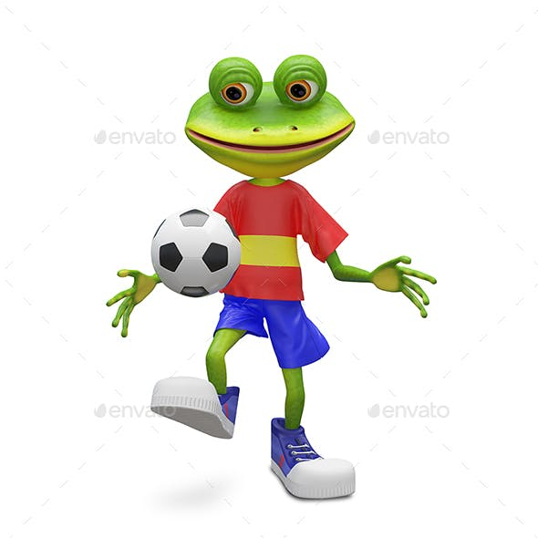 3D Illustration Frog Football Player