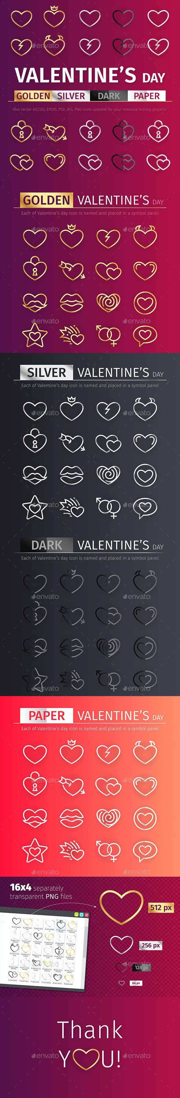 Golden and Silver Valentine's Day Icons Set