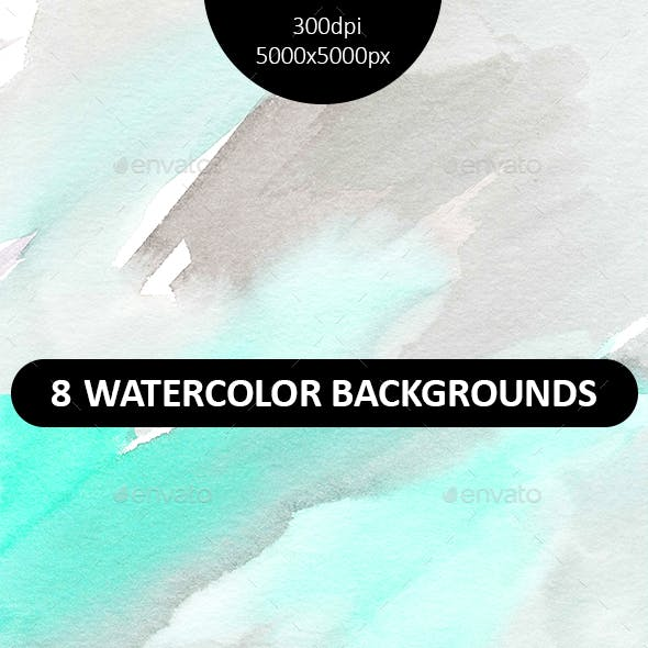 Set of 8 hand painted watercolor background.