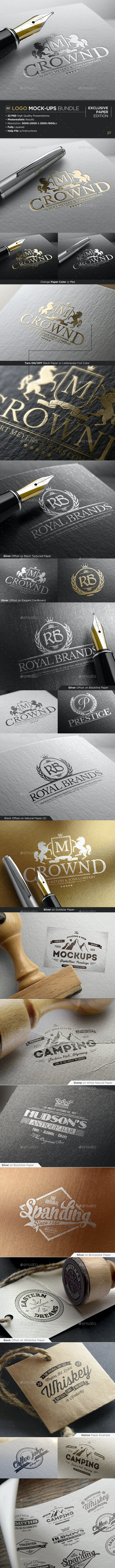 Bundle | Logo Mock-Ups - Exclusive Paper Edition - Logo Product Mock-Ups