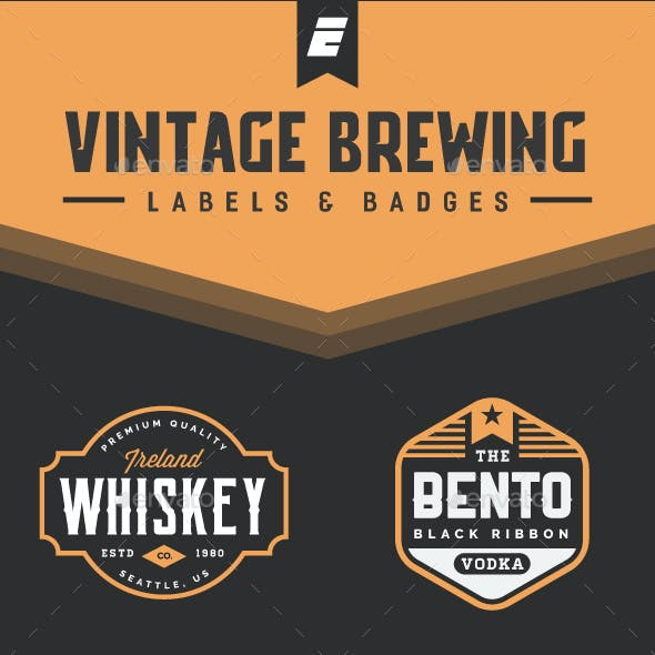 Vintage Brewing Label and Badges