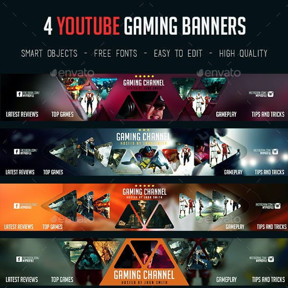 4 YouTube Gaming Banners