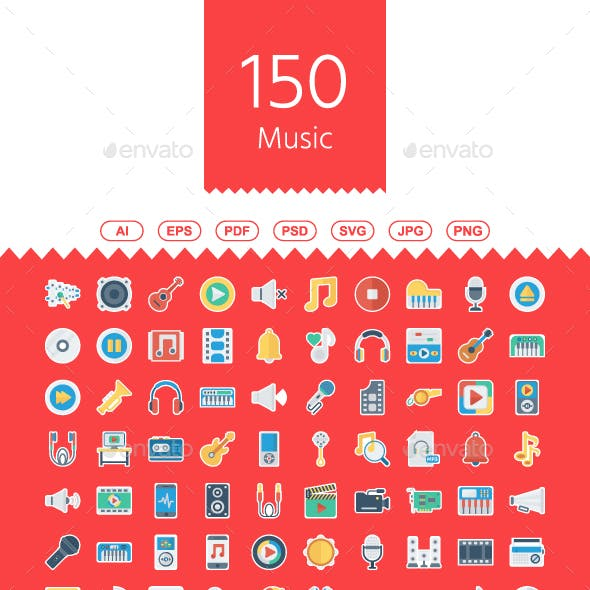 100+ Music, Audio, Video Flat Paper Icons
