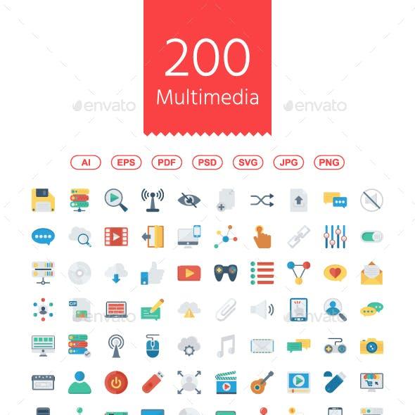 200 Multimedia Flat Icons