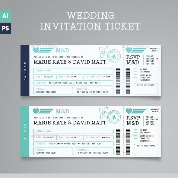 Boarding Pass Wedding Invitation Ticket
