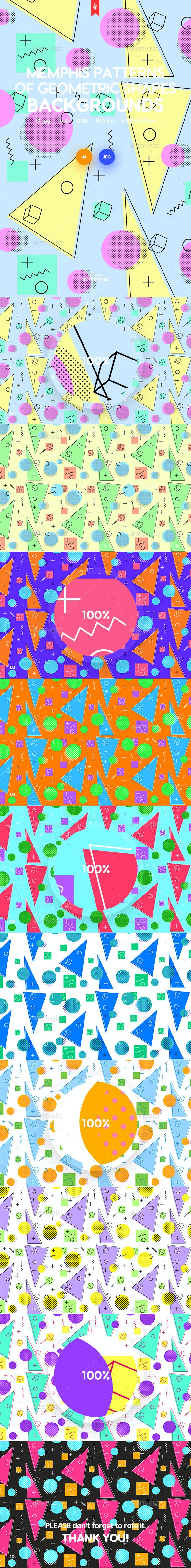 Memphis Patterns of Geometric Shapes Backgrounds by