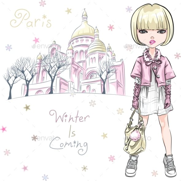 Vector Fashion Girl in Winter Clothes in Paris
