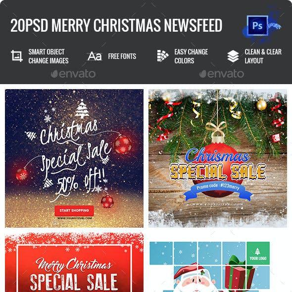 Merry Christmas NewsFeed Banners Ad - 20PSD