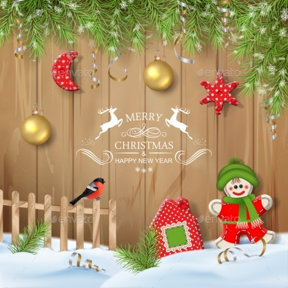 Christmas Background with Ornaments - Christmas Seasons/Holidays