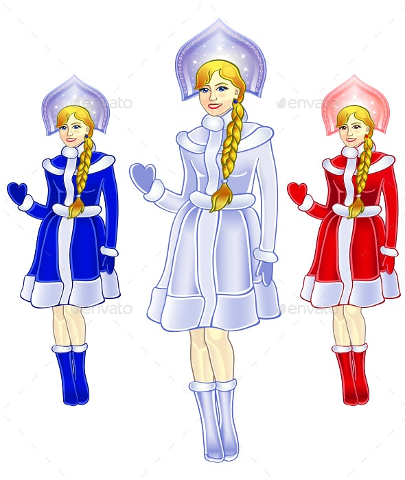 Snow Maiden in Three Colors - People Characters