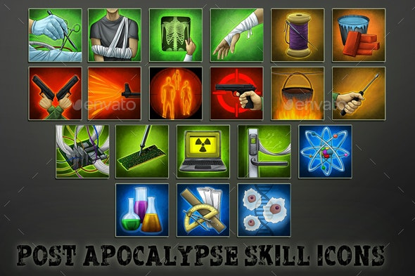 20 Post-Apocalyptic Skill Icons - Miscellaneous Game Assets