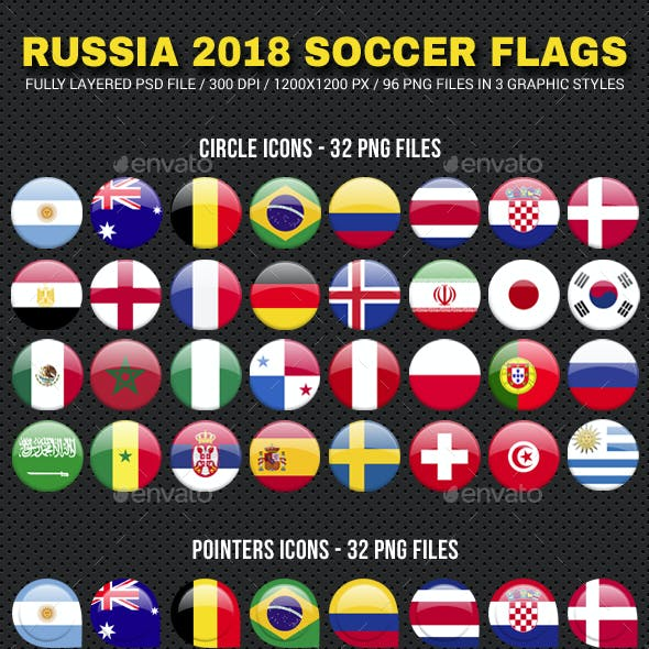 World Football Flags Russia 2018