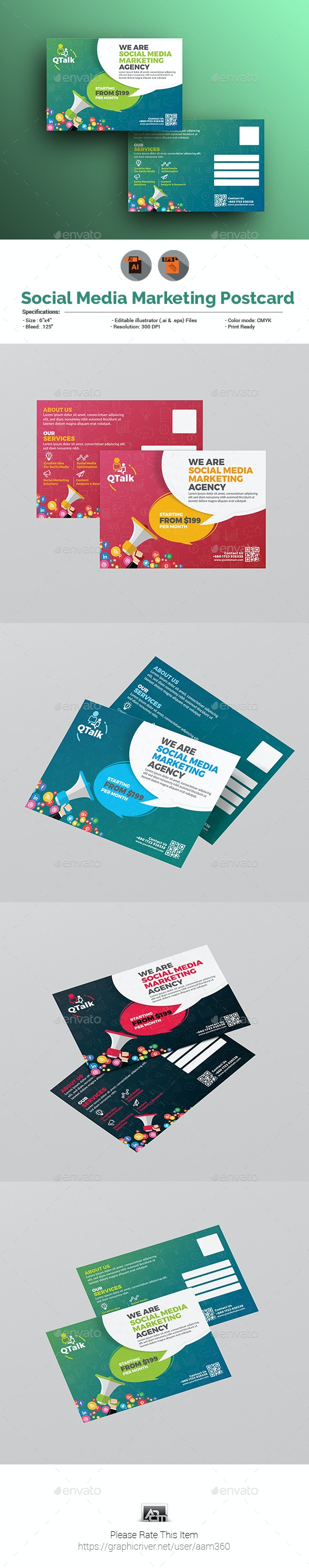 Social Media Marketing Postcard - Cards & Invites Print Templates