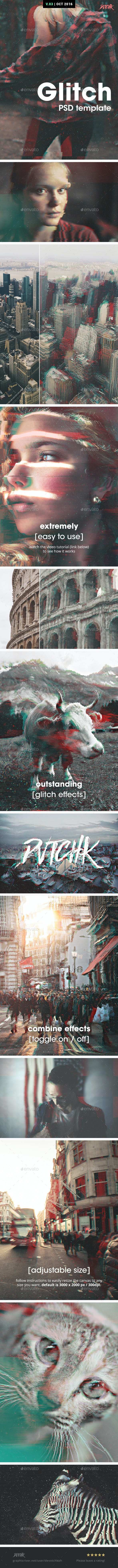 Glitch Photoshop Photo Template - Tech / Futuristic Photo Templates