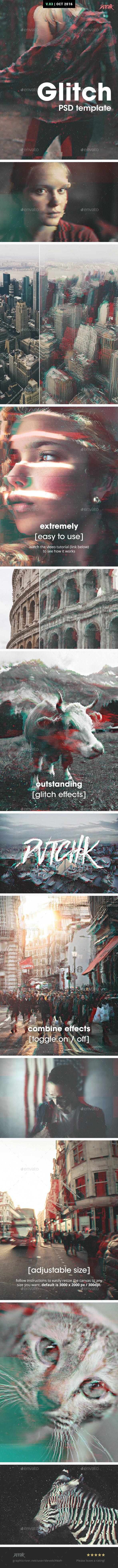 Glitch Photoshop Photo Template - Tech / Futuristic Photo Templates