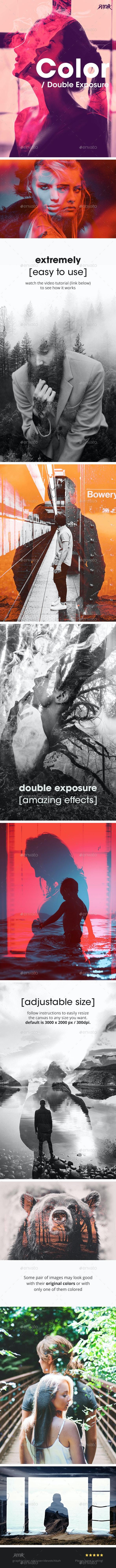 Color - Double Exposure Photoshop Photo Template - Photo Templates Graphics