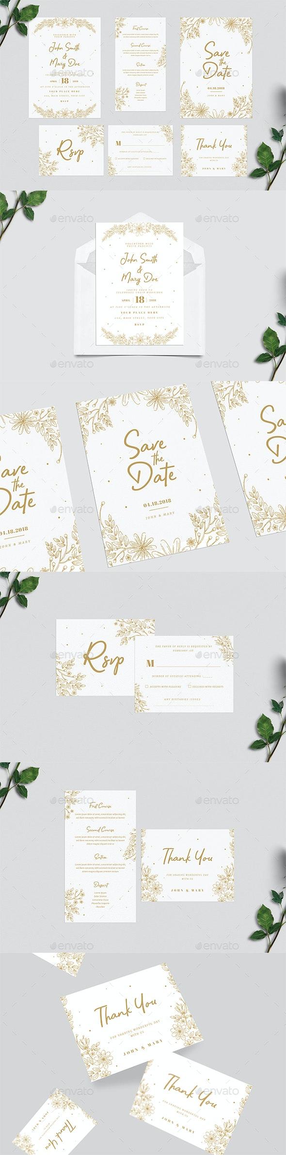 Gold Floral Wedding Invitation Suite - Weddings Cards & Invites