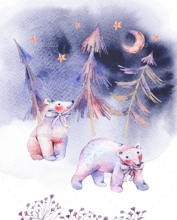 Winter Watercolor Card with Polar Bears