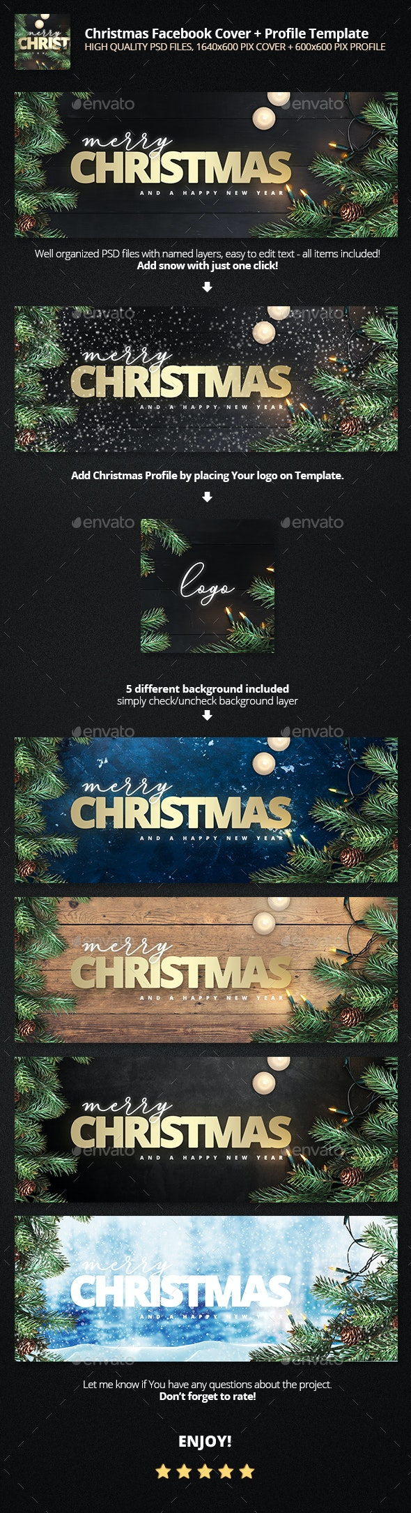 Merry Christmas - 5 Backgrounds FB Cover Template - Facebook Timeline Covers Social Media