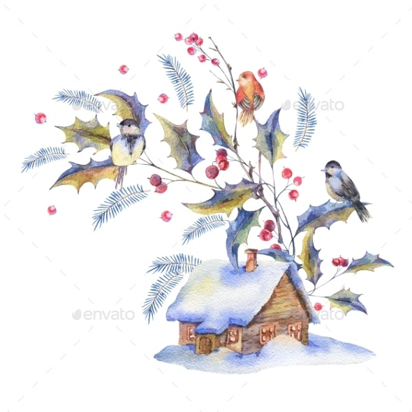 Watercolor Christmas Greeting Card with Holly - Miscellaneous Illustrations