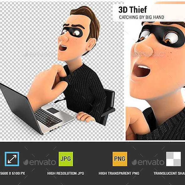 3D Big Hand Catching Hacker Through a Laptop