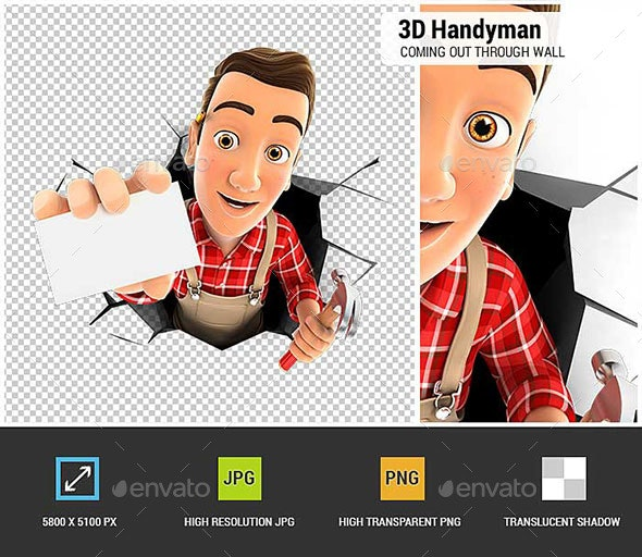 3D Handyman Coming Out Through a Wall with Company Card - Characters 3D Renders