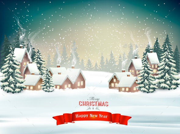 Christmas Holiday Background With a Snowy Village Scene - Christmas Seasons/Holidays