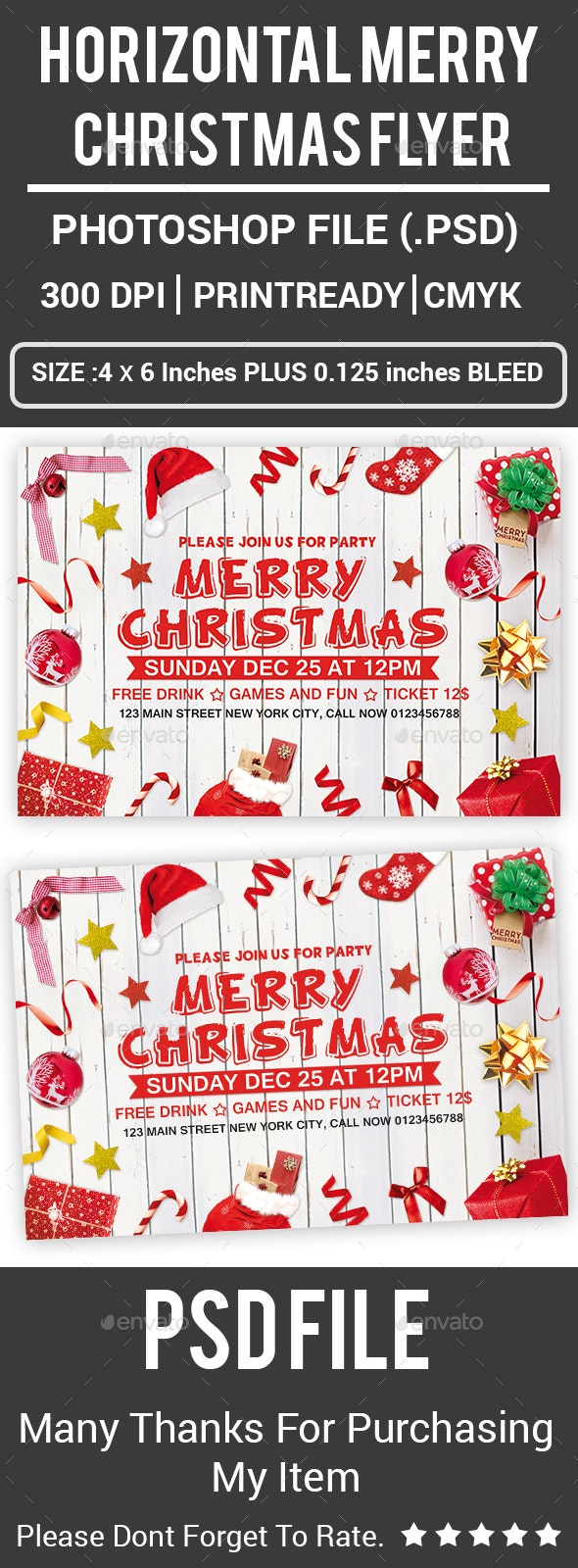 Horizontal Merry Christmas Flyer - Clubs & Parties Events