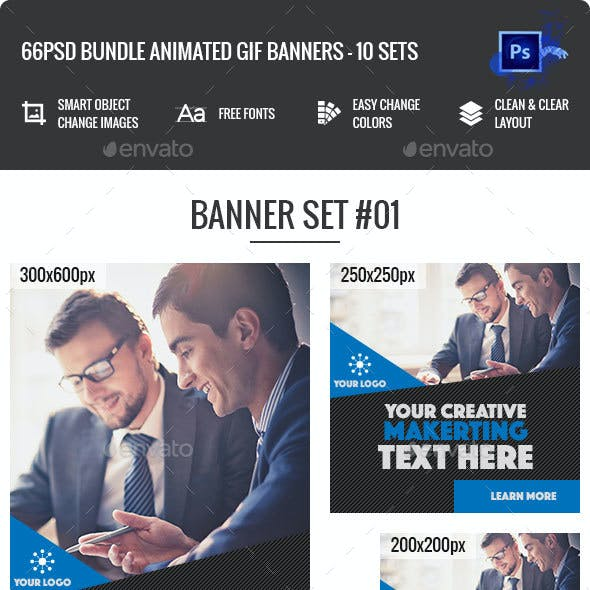 Bundle Animated GIF Multipurpose, Business, Corporate Banners Ad - 11 Sets