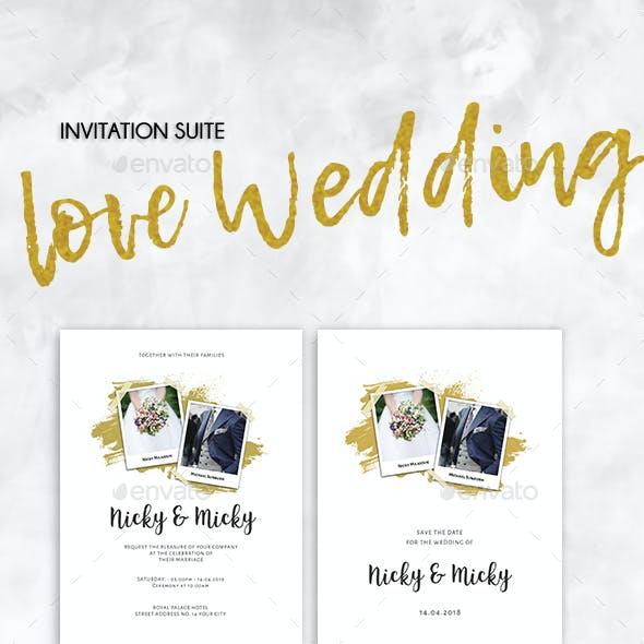 Wedding Brush Gold Invitation Set