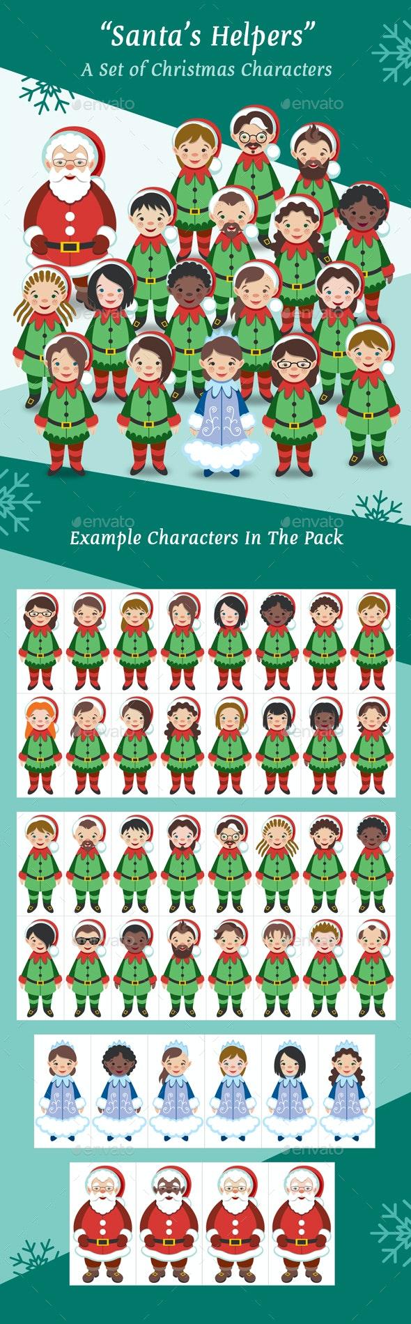 Santa's Helpers - A Set of Christmas Characters - Characters Vectors