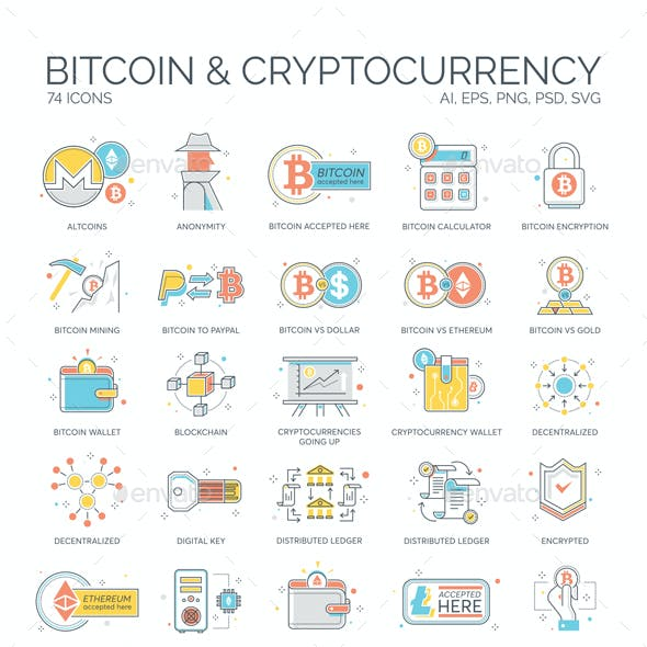 Bitcoin, Blockchain & Cryptocurrency Icons