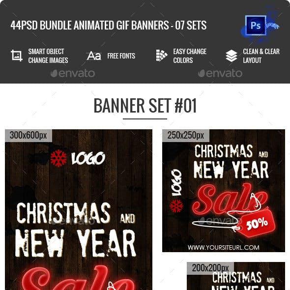Bundle Animated GIF Merry Christmas Banners Ad - 44 PSD
