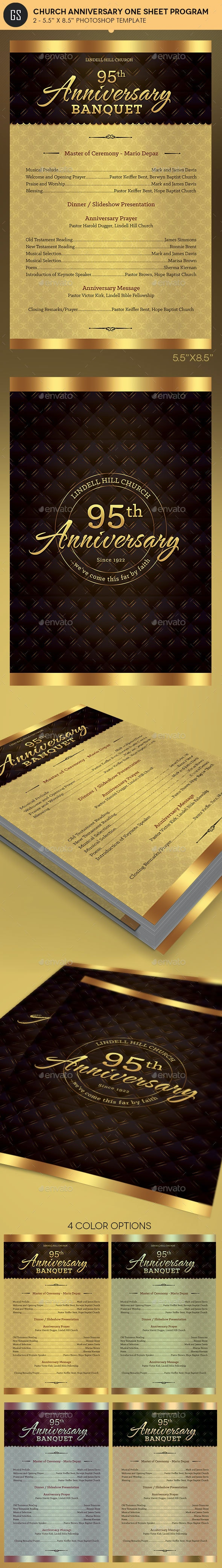Church Anniversary One Sheet Program Template - Informational Brochures