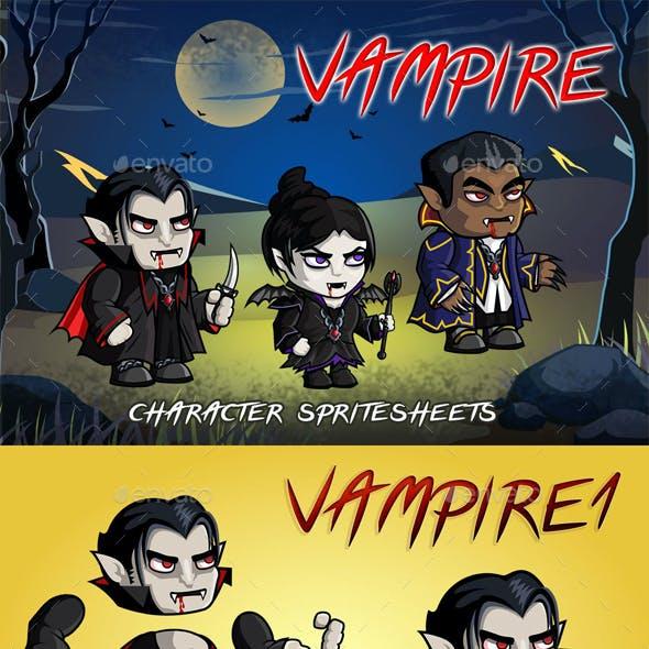 Vampire 2D Game Character Sprite Sheet