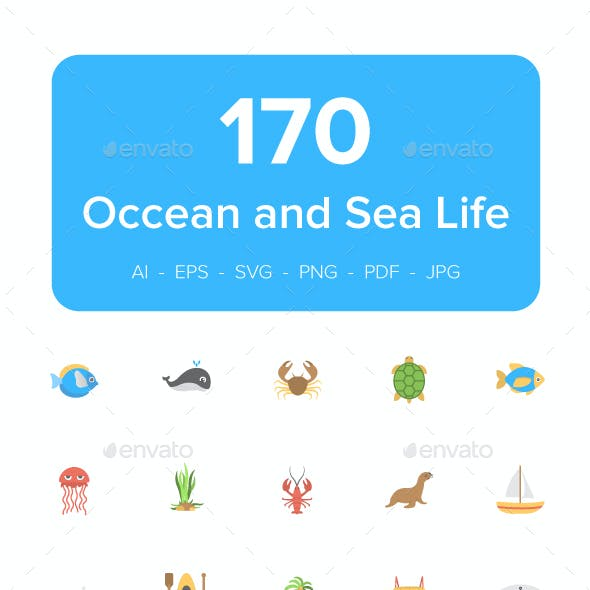 170 Ocean and Sea Life Vector Icons