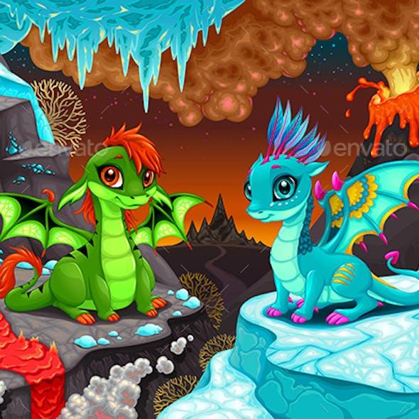Baby Dragons in a Fantasy Landscape