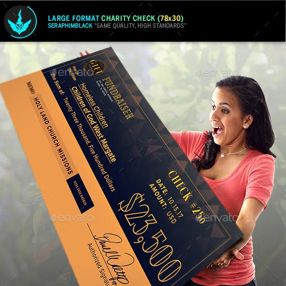 Art Deco Large Format Charity Check Template