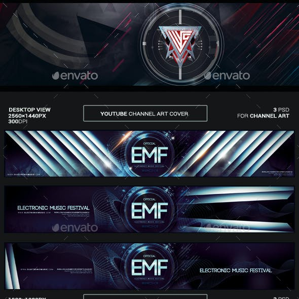Youtube Channel Art and Video Thumbnail Template