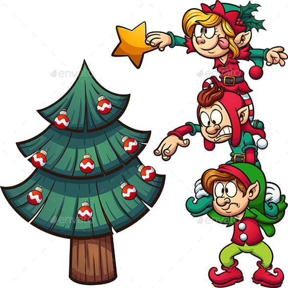 Elves Decorating Christmas Tree by memoangeles | GraphicRiver