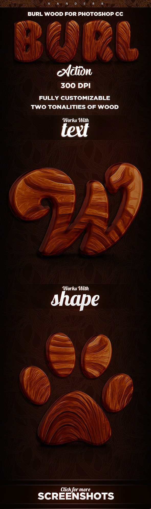 Burl Wood Photoshop Action - Text Effects Actions