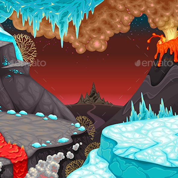 Prehistoric Landscape with Fire and Ice