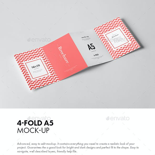 Four-Fold A5 Brochure Mock-up