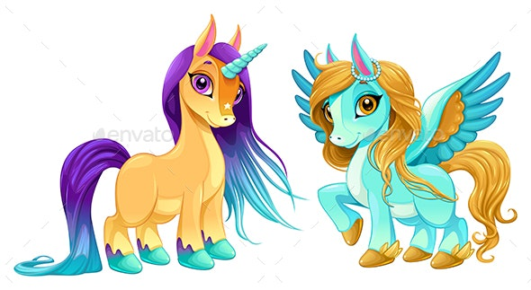Baby Unicorn and Pegasus - Animals Characters